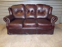 Oxblood Traditional Chesterfield Leather 3-1-1 Suite