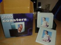 Set of Four New Photo Coasters. Bevelled Glass with Non-skid Pads & Wooden Holder. Gift Idea.