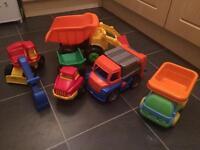 Digger, trucks, recycling lorry etc