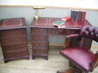 Stunning Oxblood Leather Inlay Desk, Chesterfield Captains Chair and Filing Cabinet