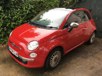 Fiat 500 Lounge 1.4 2008, 50k miles, fresh MOT, red leather interior, 100 BHP