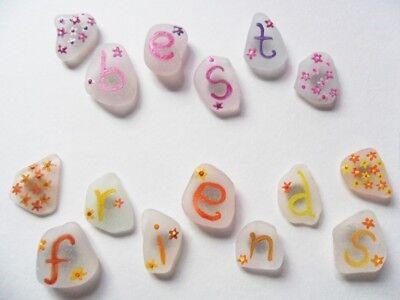 Best friends - Hand painted Summer flowers 15pc sea glass art fridge magnet