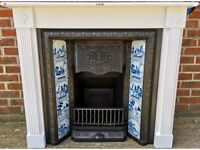 Tiled Victorian Style Cast Iron Fireplace - Lovely Blue and White Tiles & Includes Wooden Surround