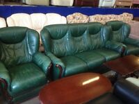 Green Italian leather sofa and chairs