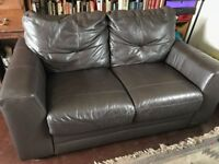 Real leather 2 seater sofa - dark chocolate brown