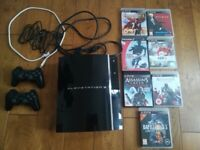 PS3 console 60GB backwards compatible PS2 CECHC03 | Playstation 3 + 2 controllers + 7 games + cables