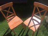 Pair of Sturdy Ikea wooden chairs