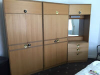 2 wardrobes & dressing table combined & 5 drawer chest
