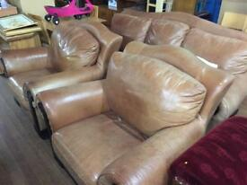 Rustic leather sofa & Chairs