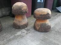 2x big chainsaw carved mushroom ornaments