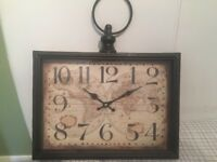 Vintage antique-style wall clock, map design. £10 ono