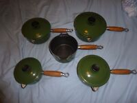Le Creuset Racing Green saucepan set of cast iron & lids pans x5 14 16 18 20