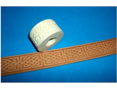"Celtic Stone Cut Leather Emboss Roll High Impact Poly 1 3/8"" Wide"