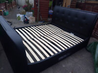 """Super kingsize faux leather tv bed with samsung 32""""led tv"""