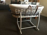 Mothercare grey ombré Moses basket (bassinet) with rocking stand