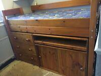 Cabin bed bunk desk chestdraws
