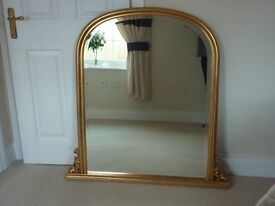 Bevelled guilt gold frame wall arched over-mantle dome Mirror