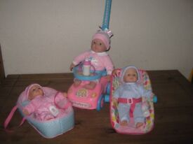 3 DOLLS CAR SEAT, SIT AND RIDE AND BASSINET GOOD CONDITION
