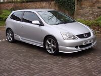 EXCELLENT LOOK!! 2005 BLACK HONDA CIVIC 1.6 SPORT, FACELIFT, TYPE R EXTRAS, 1 YEAR MOT, WARRANTY