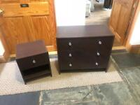 Great condition small chest of drawers & bedside cabinet