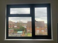 Black UPVC double glazed window 130cm x 120cm frame + glass+handles