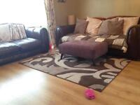 LOVELY BROWN USED LEATHER 3 SOFA, 2 SEATER & CHAIR