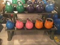 Kettle bells and rack for sale.