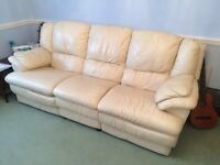 Cream leather reclining sofa and armchair !! Really good condition!