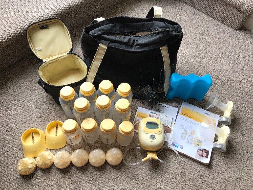 Medela freestyle pump, travel bag & accessories, 11 bottles & 6 teats