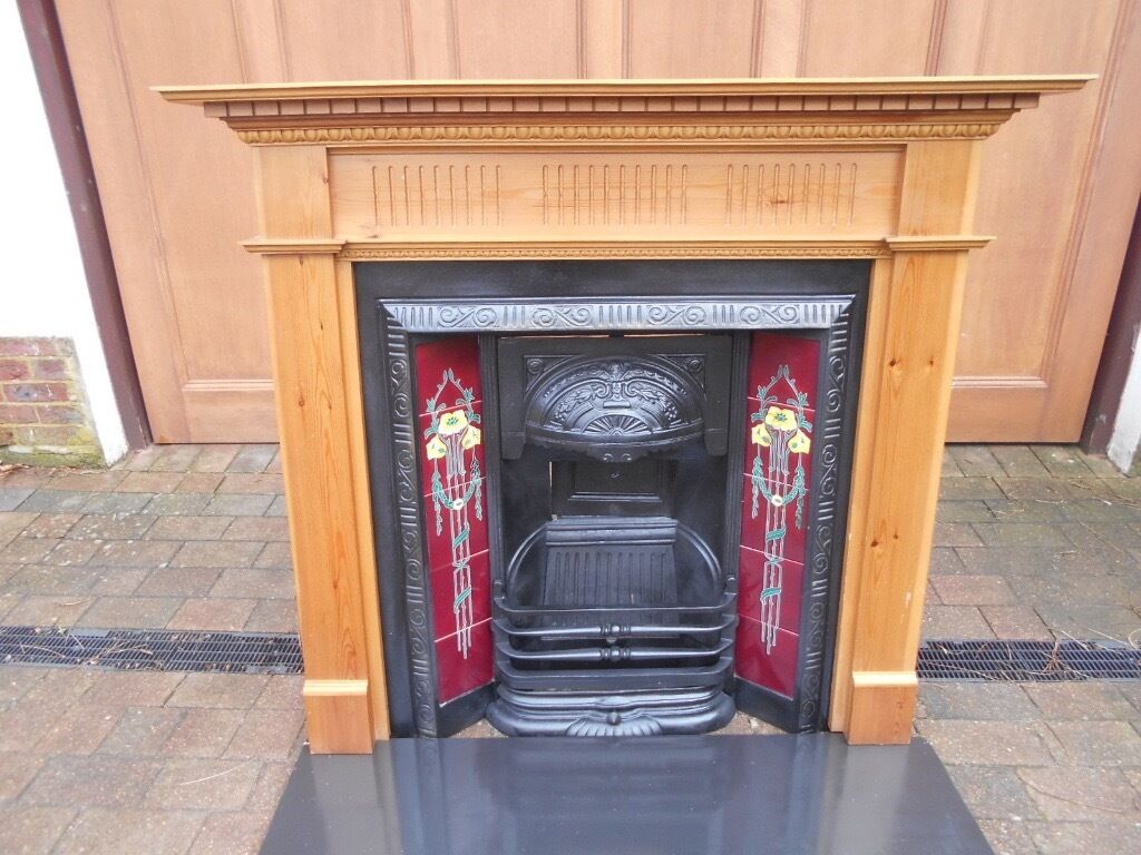 victorian edwardian art deco cast iron insert fireplace great