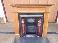 VICTORIAN / EDWARDIAN / ART DECO CAST IRON INSERT FIREPLACE GREAT TILES, HEARTH AND TIMBER SURROUND