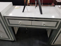 White glass console table