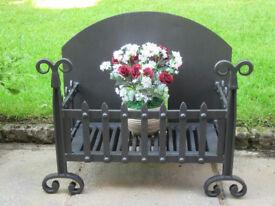 Black Cast Iron Open Grate Fireplace - Very Heavy
