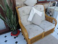 Conservatory cane and rattan suite, with round table and 2 chairs