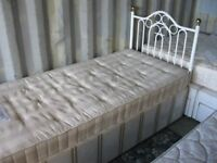 MODERN SINGLE DIVAN BED WITH MATTRESS. ORNATE WHITE METAL HEADBOARD. VIEWING/DELIVERY AVAILABLE