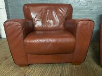 DESIGNER REAL TAN LEATHER SOFA ARMCHAIRS SET OF TWO POUND 79 FREE DELIVERY