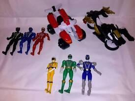 Power Rangers figures x6 & 2 vehicles/ bikes