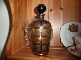 Vintage 1950`s glass decanter in bronze and gold glass