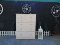 SOLID PINE FARMHOUSE CHEST OF DRAWERS 4+2 DRAWERS PAINTED WITH LAURA ASHLEY CREAM COLOUR