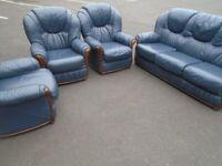BLUE LEATHER SOFA SET at Haven Trust's charity shop at 247 Radford Road, NG7 5GU