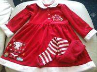 Lovely little girls Christmas Dress & tights age18-24mths
