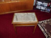 Oak piano stool which needs upholstering~With new material~Old so maybe antique~View at Exeter
