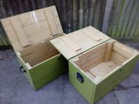 2 wooden heavy trunks - chests in good condition needs painting