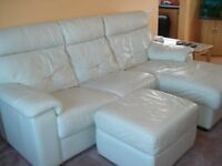 White leather 3 seater sofa with chaise lounge