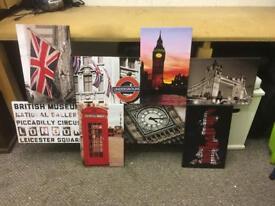 London themed detachable art picture