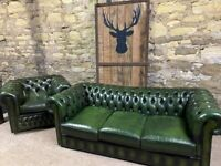 Chesterfield Green nLeather 3 seater sofa & Club Chair