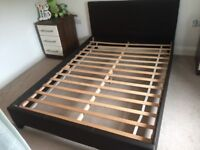Brown Leather Double Bed Frame and Mattress
