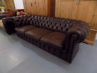 Vintage Brown Leather 3 Seater Chesterfield Sofa
