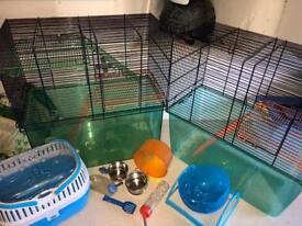 2 Hamster/gerbil cages plus accessories
