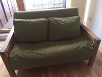 Futon Co Oke 2 seater sofa bed - real oak, great condition with as new cover, comfy bed